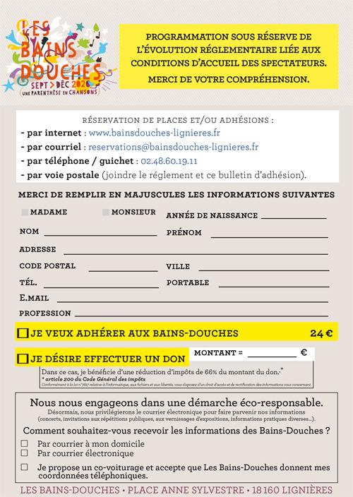 Bulletin d'adhésion 2020/2021 Les Bains-Douches