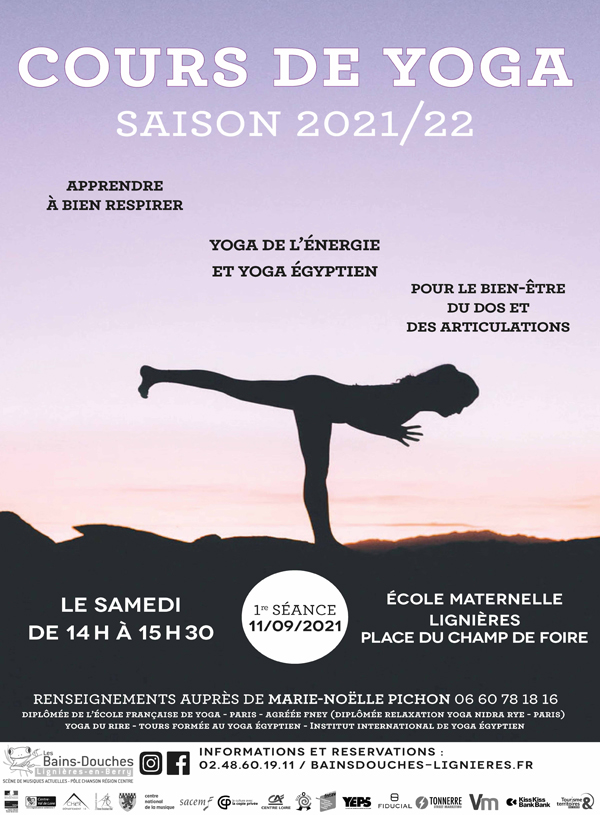 Affiche Cours de Yoga 2021/2022